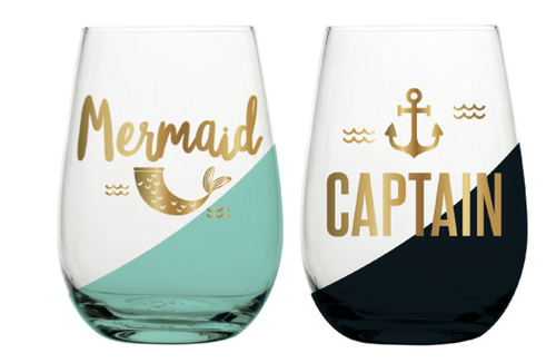 Mermaid & Captain Stemless Wine Glass Set