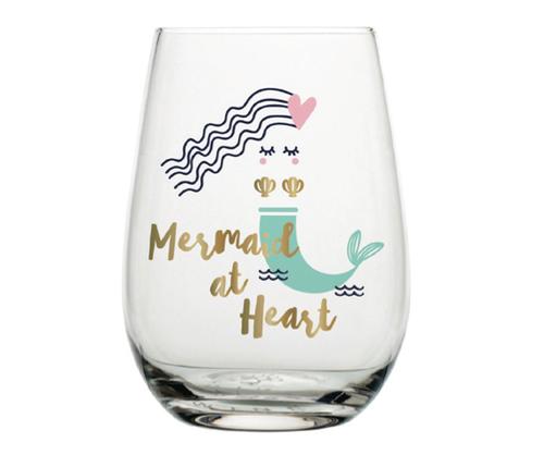 Mermaid at Heart Stemless Wine Glass