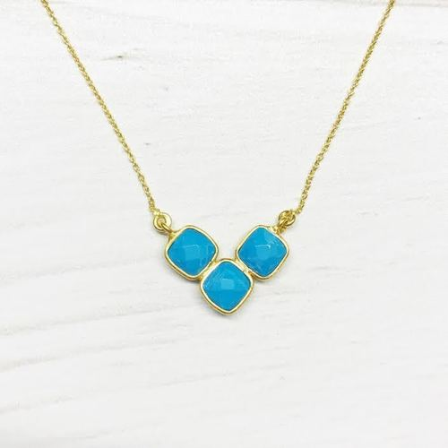Triple Cushion Turquoise Gold Necklace