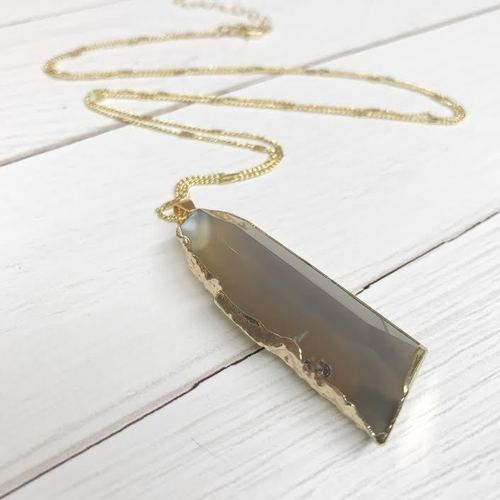 Rect. Cut Stone Long Necklace