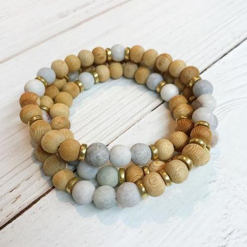 Wood/ Stone Stretch Wrap Bracelet