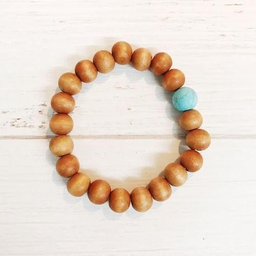 Wood Turquoise Stretch Bracelet
