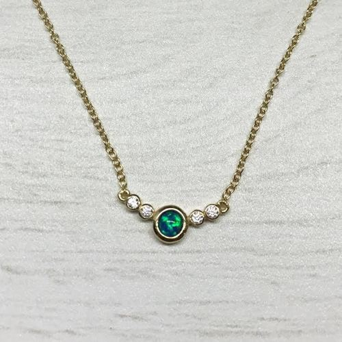 Tiny CZ Bezel Opal Necklace