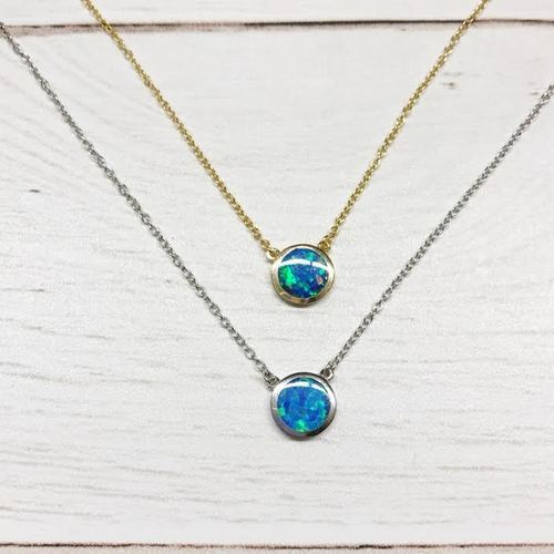 Opal Disk Seamless Necklace