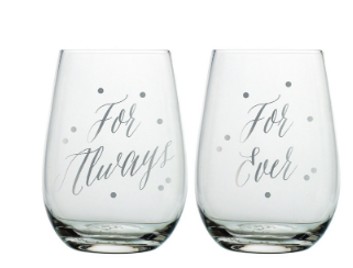 For Always & For Ever Stemless Wine Glass Set