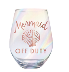 Mermaid Off Duty Stemless Wine Glass