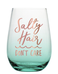 Salty Hair Stemless Wine Glass