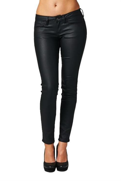 Faux Leather Low Rise Denim Pant