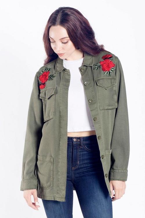 Olive Flower Patch Light Jacket