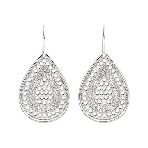 Anna Beck Beaded Teardrop Earring- Silver