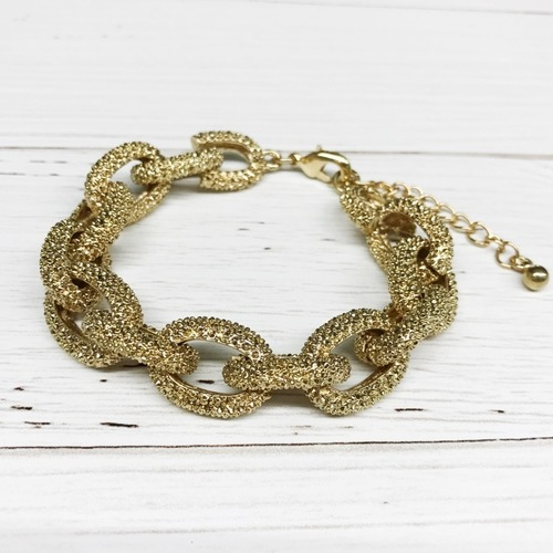 Textured Chain Link Bracelet Gold