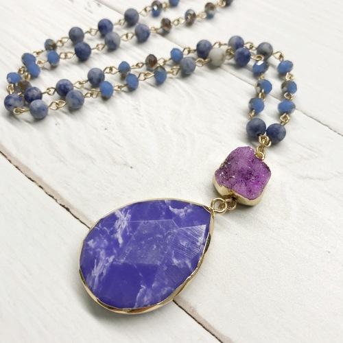Bezel Lapis Teardrop Pendant with Beaded Chain Necklace