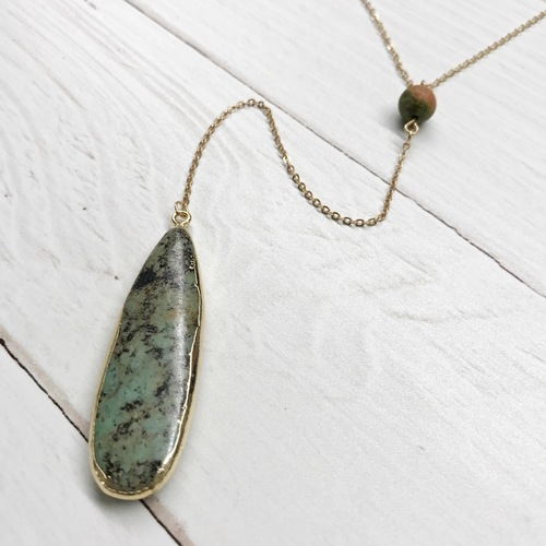 Teardrop Stone Pendant Long Necklace