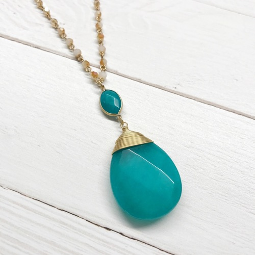 Turquoise Teardrop Pendant with Suede Beaded Chain Necklace