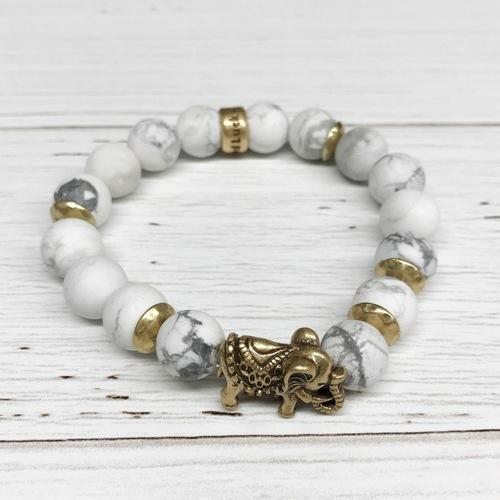 Beaded White Marble Stone Elephant Stretch Bracelet