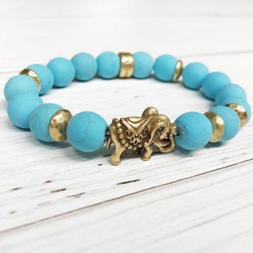 Beaded Turquoise Stone Elephant Stretch Bracelet