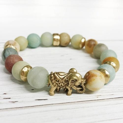 Beaded Mint Stone Elephant Stretch Bracelet