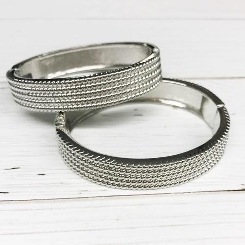 Ribbed Cuff Bracelet Silver
