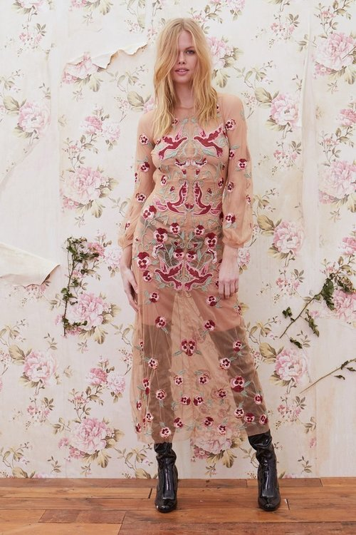 EMBROIDERY BIRD FLORAL MIDI DRESS