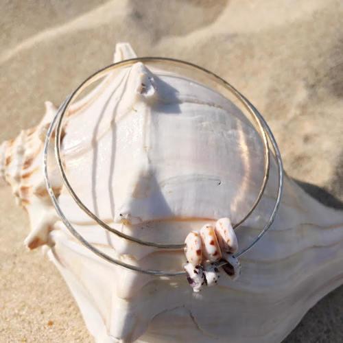 Tri-Puka Shell Bangle Bracelet