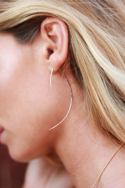 Rose Gold Marquis Hoops