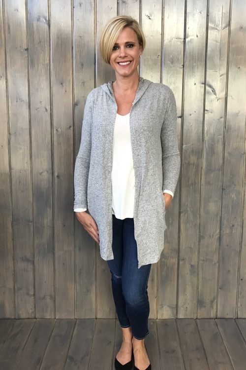The Marled Hooded Cardigan Heather Grey