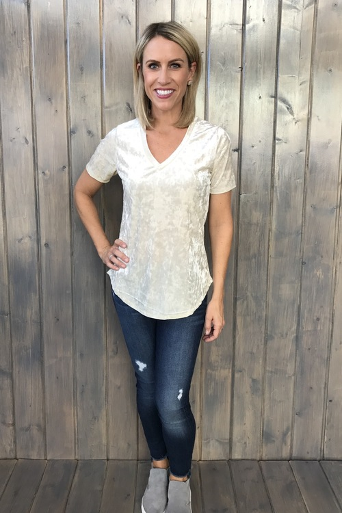 The Crushed Velvet Tee Ivory