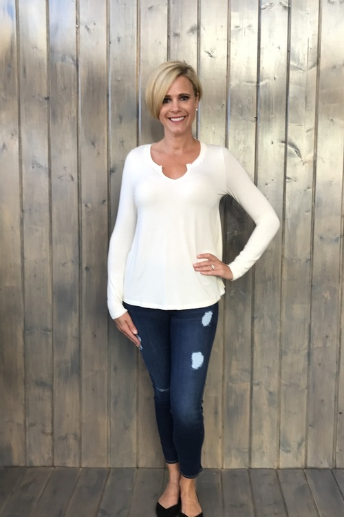 Sleek Jersey Split Neck LS Ivory