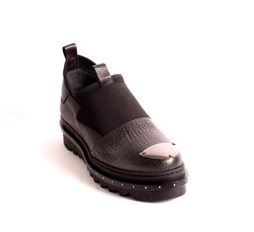 Black Leather / Stretch Shoe Booties Platform