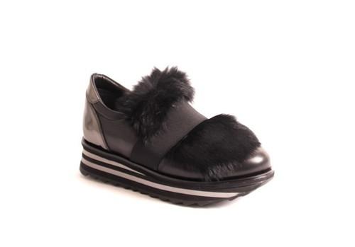 Black Leather Fur Stretch Platform Booties