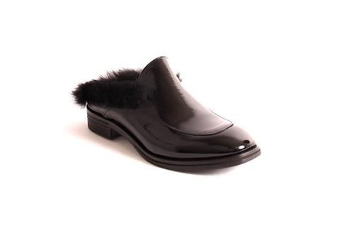 Black Patent Leather Fur Mules Shoes
