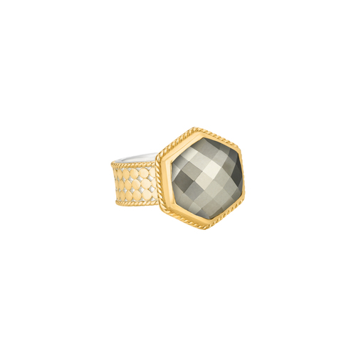 Pyrite Hexagon Ring