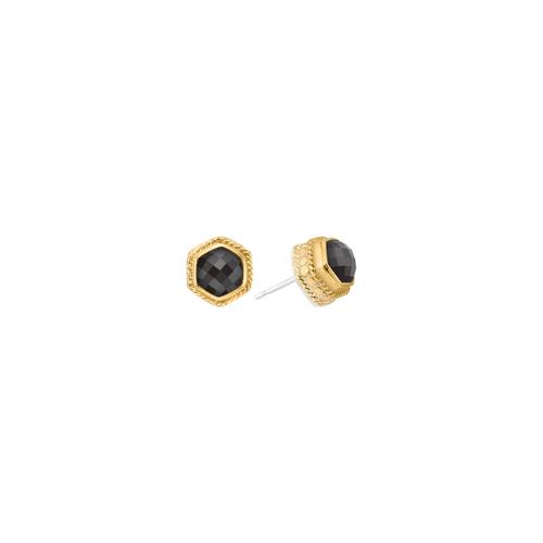 Gray Sapphire Hexagon Stud Earring