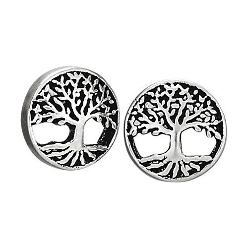 Small Round Tree with Roots Earrings