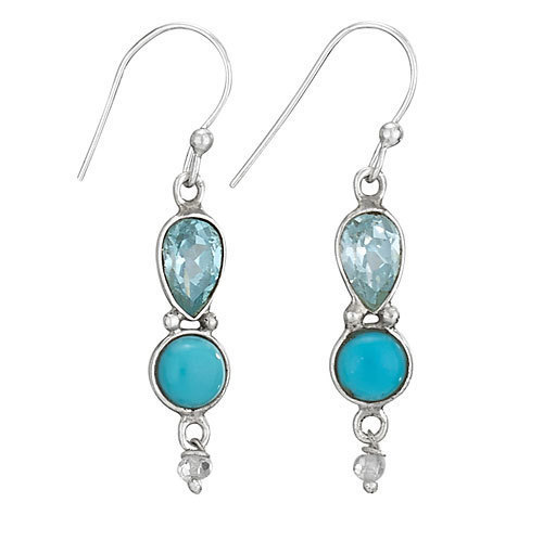 Blue Topaz with Turquoise Dangle Earrings