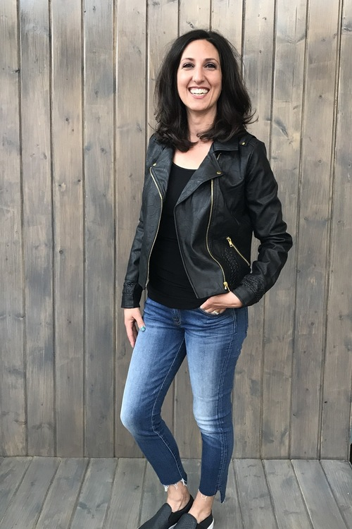 Andie Faux Leather Black Moto Jacket