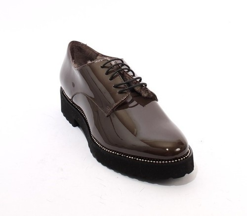 Brown Gray Patent Leather Sheepskin Lace-Up Shoes