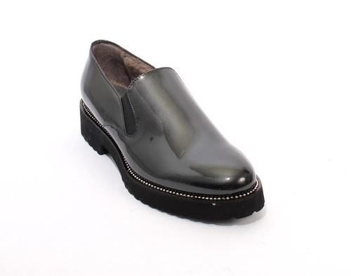 Metalic Gray Patent Leather Sheepskin Shoes