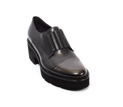 Black Leather / Elastic Platform Loafers Shoes