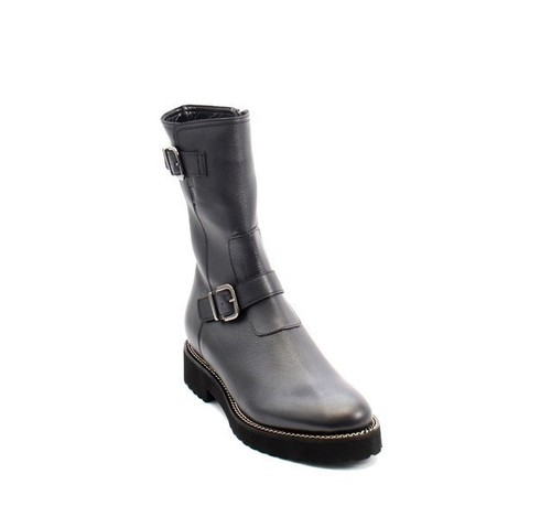 Gray Leather Buckle Shearling Mid-Calf Boots