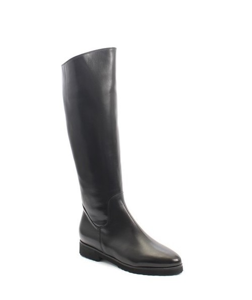 Black Leather Sheepskin Knee High Pointy Boots