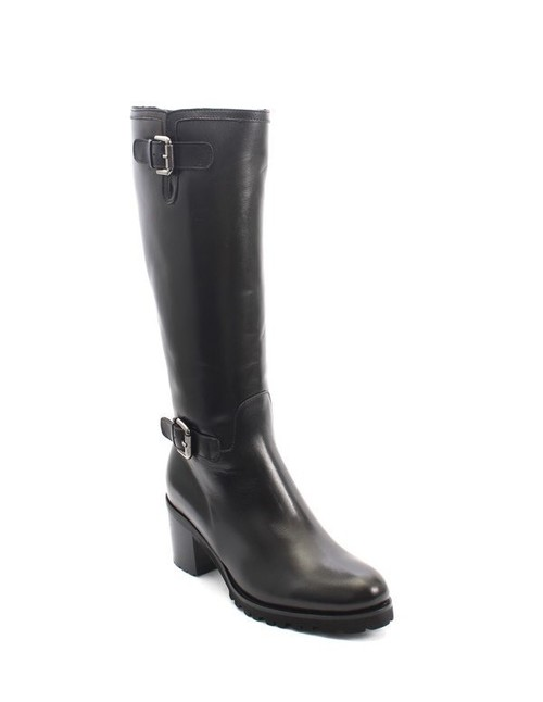 Black Leather Sheepskin Knee High / Heel Boots
