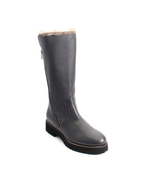 Gray Leather Sheepskin Fur Zip-Up Mid-Calf Boots