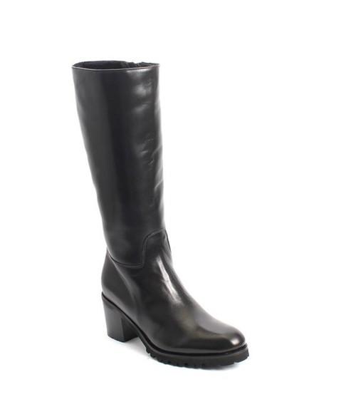 Black Leather Sheepskin Knee High / Heel Boots