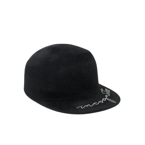 "Bo Black Wool Felt Cap with Swarovski Crystals ""Incognito"""