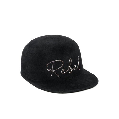 "Bo Black Wool Felt Cap with Swarovski Crystal""Rebel"""