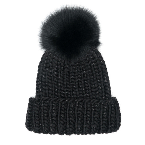 Rain Chunky Wool Beanie with Metal Yarn & Black Fox Pom