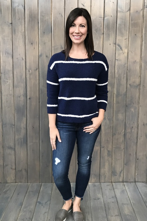 Karin Fluffy Navy Sweater