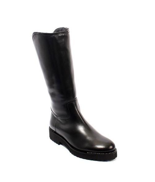 Black Leather Sheepskin Fur Mid-Calf Boots