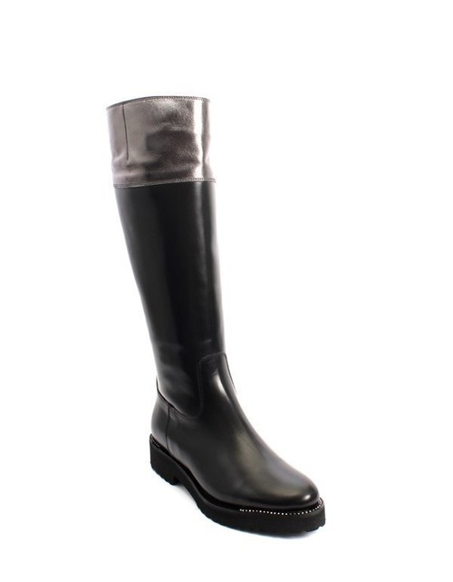 Black / Gray Leather Sheepskin Fur Knee High Boots